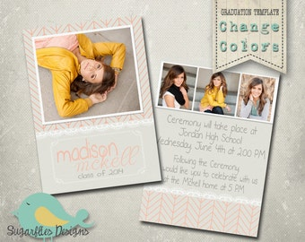 Graduation Announcement PHOTOSHOP TEMPLATE -  Senior Graduation 28