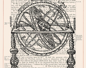 Vintage Armillary Sphere on 1883 Bible Paper