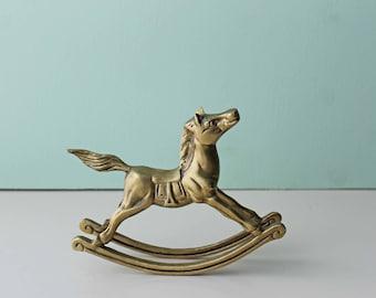 Brass Rocking Horse, Vintage Rocking Horse, Brass
