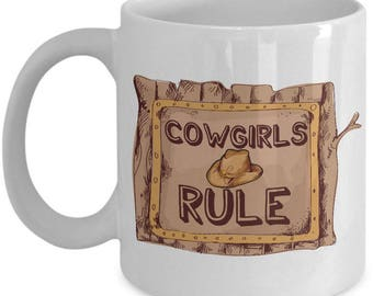 Cowgirl Coffee Mug - White 11oz Ceramic Cowgirl Gift Cup - Cowgirl Stuff For Horse Lovers