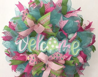 Spring Easter Bunny Tail Deco Mesh Wreath