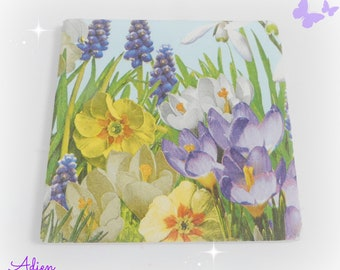 Spring Flowers Ceramic Coaster, Individual Coaster, Garden Gifts, Tea Time Gift Idea, Floral Gifts