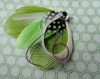 CHLOE in Lime Green and Grape Purple Peacock Feather Hair Clip, Fascinator