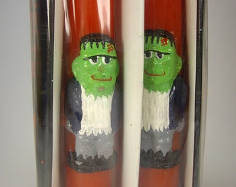 "Frankenstein 10"" Halloween Novelty Taper Candles, Set of Two, Monster, Red"