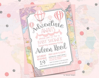 Adventure awaits, baby shower invitation, world baby shower invitation, girl baby shower invitation, hot air balloon, Printable Invitation