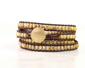 Khaki Wrap Bracelet Brown Leather Jewelry Gold Wrap 4x Boho Wrap Bracelet Earthy Bohemian Jewelry Goldenrod Skinny Bracelet Boho Jewelry