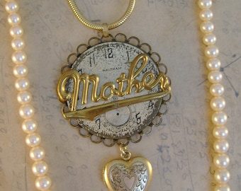 "Mother's Love - Vintage ""Mother"" Pin Pocket Watch Dial Pearls Heart Locket Two Strand Recycled Assemblage Necklace"
