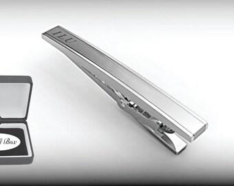 Personalized Tie Clip, Silver Tie Clip, Engraved Tie Clip, Custom Tie Bar, Tie Tack, Groomsmen Gifts, Wedding Favors - Buy 6, Get 7th Free
