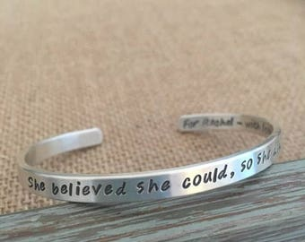 She believed she could, so she did, Sterling Silver, Graduation Bracelet, Personalized Sterling Bracelet, Mother Bracelet, Kids Names Cuff