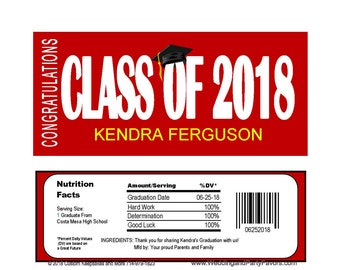 Graduation Editable Candy Bar Wrapper Instant  download Printable -  GRA1217  DIY (1- PDF file) class of 2018