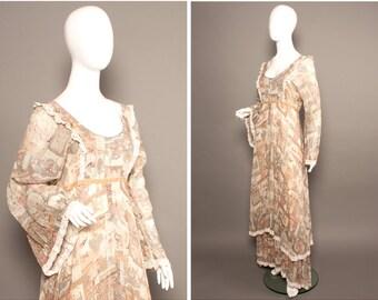 JOHN CHARLES 70s Indian Print Psych Boho Peasat Dress UK 14