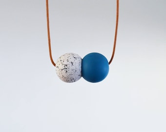Together necklace - Speckled white and blue
