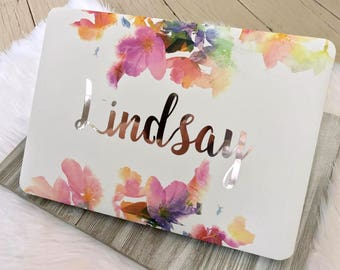 "Script Name Floral MacBook Hard Case | Personalized | Air 11"" 13"" 