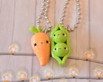 Peas and Carrot Best Friend Necklace, Food Jewelry, Kawaii Charms, BFF Necklace, Best Friend Charm, Best Friend Jewelry, Pea, Carrot, Kawaii