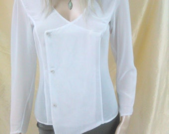 white blouse, transparent shirt, long sleeve blouse, white top