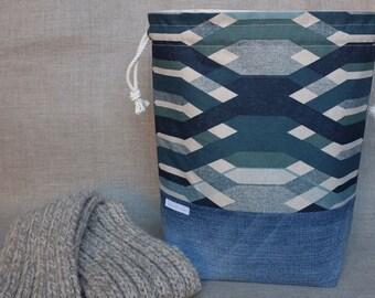 Large Knitting Project Bag / Drawstring Project Bag / Project bag / Project bag for knitting / Sweater Project Bag