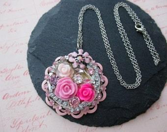 Pink Rose Crystal Necklace, Pink Rhinestone Necklace, Pink Flower Necklace, Assemblage Necklace, Pink Patina Necklace, Handmade Jewelry