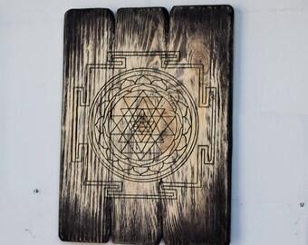 Sacred geometry | Sri Yantra | Yoga | Meditation | Birthday gift | Art | Wood art | Wood wall art | Yoga art | Gift for him | Gifts men