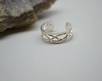 Toe Ring Braided Design Adjustable Toe Ring or Knukle Ring Midi Ring