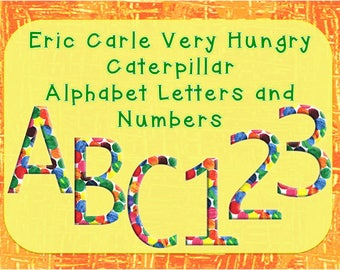 Eric Carle Alphabet Clip Art, Color Polka Dot, The Very Hungry Caterpillar Text Clip Art, Uppercase Letters and Numbers.