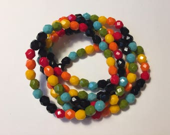 RAINBOW beaded bracelets - colourful jewelry - bold jewelry - bright jewelry - arm party - gift for her - inspirational - meaningful