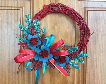 Mini Christmas wreath, mini wreaths, red wreaths, turquoise wreaths, pinecone flowers, door hangings, small wreaths, pinecone wreaths