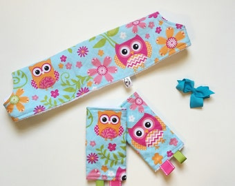 Tula Standard Drool Pads & Teething Bib SET // Argyle Owls // Ready to Ship