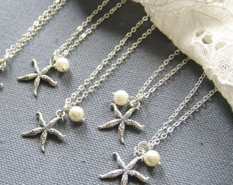 SET of 4 - Starfish pearl necklace, bridesmaid necklace, bridemaid gift wedding jewelry set white ivory pearl - W047