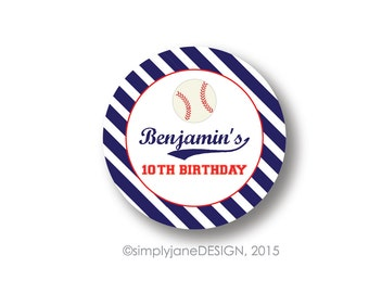 Baseball Party Favor Stickers -- 2 inches, Sheet of 20