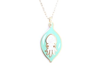 Cuttlefish Egg Necklace (cute cuttlefish necklace octopus jewelry ocean necklace cloisonne cephalopod tentacle marine biology baby animal)