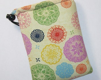 """Pipe Pouch, Trippy Mandala, Pipe Case, Pipe Bag, Glass Pipe Cozy, Padded Pipe Pouch, Hippy, 420, Cannabis, Smoke Accessory - 7"""" DRAWSTRING"""