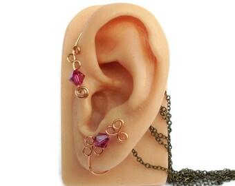 Ear Cuff Wrap Fuchsia Swarovski Crystal