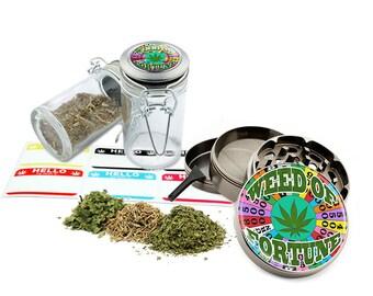 "Fortune - 2.5"" Zinc Alloy Grinder & 75ml Locking Top Glass Jar Combo Gift Set Item # G50-102215-9"
