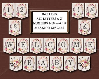 Boho Baby Shower Banner, Printable Includes ALL LETTERS A-Z, Numbers 0-9, Spacers & symbols Floral Tribal Baby Shower Instant Download  011
