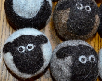 Dryer Balls: Handmade Solid Icelandic Wool 6.00 each Mix and Match Colors. All Natural, Cruelty Free Wool from my Pet Sheep