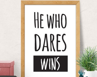 Who Dares Wins, Quote Prints, Inspirational Print, Motivational Poster, Minimal Print, Delboy Trotter, Typography Print, Fools and Horses