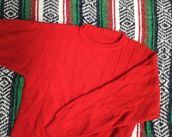 Vintage Oversized Knit Red Sweater