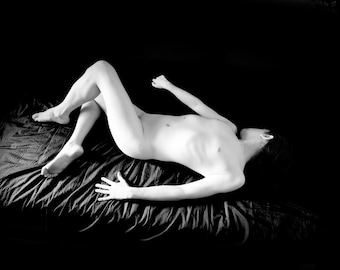 Naked art male artstic nude black and white photography fine ART print - Out of shadow 04
