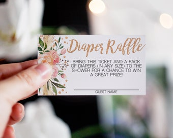 Printable Baby Shower Game - Diaper Raffle Cards- Rose Gold Boho Floral - Instant Download Printable Shower Game PDF Template