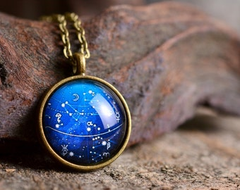 Constellation necklace, galaxy necklace, space necklace, crescent moon jewelry, blue necklace, astronomical necklace, cosmos necklace