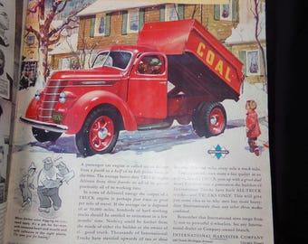 Vintage International Truck Advertisment.  1940s Truck Advertisment. Vintage Car Advertisment.  Life Magazine Advertisment.  Truck Art Decor