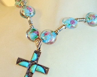 Vintage Turquoise Cross Necklace - Sterling - With Handmade Blue Rose Lampwork Beads- Modernist Abstract Design - Long