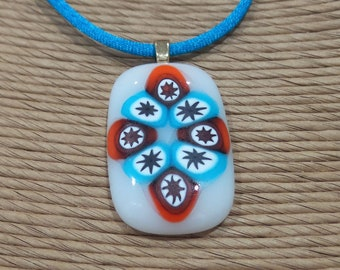 Polka Dot Necklace, White, Turquoise Blue, Orange Pendant, Fused Glass Necklace, Ready to Ship - Fiesta --6