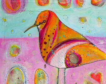 Trust Your Heart colorful bird painting