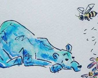 Bear and the Bee watercolour
