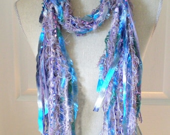 Women Long Fashion Knot Scarf with Beads - Liliac Turquoise