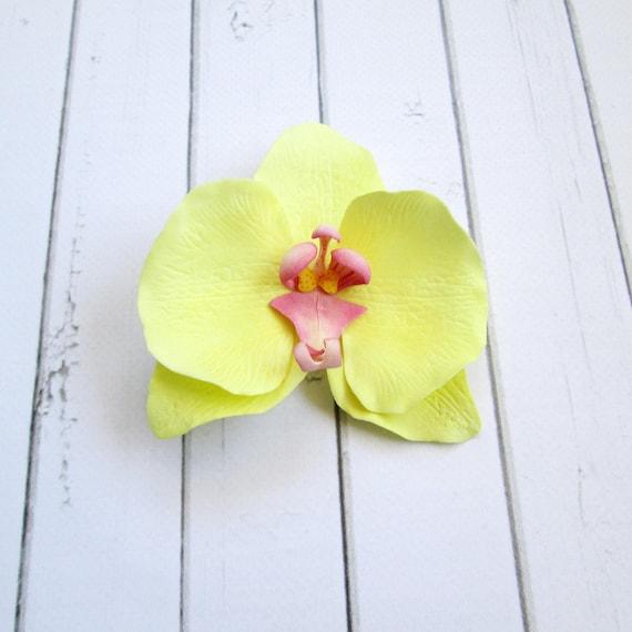 Gelbe Orchidee Haarspange Hochzeit Blume Haar-Accessoires