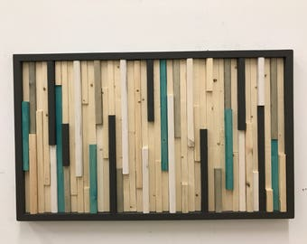 Wood Sculpture Wall Art - 18x30 - White, Gray and Turquoise