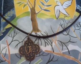 St. Raphael Angel Medal Leather Necklace Archangel Raphael Medal Men's Choker