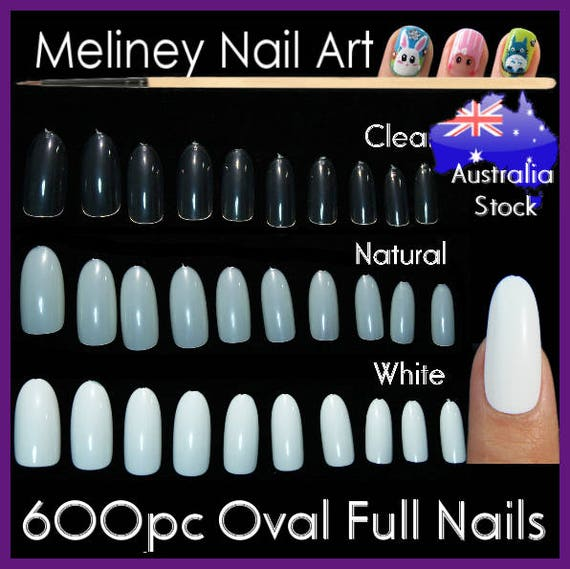 600pc Oval Full Cover Nails False Round Nail Tips Fingernail